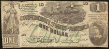 1862 $1 DOLLAR BILL GREEN OVERPRINT CONFEDERATE STATES CURRENCY NOTE MONEY T-45