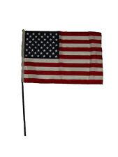 "12x18 12""x18"" U.S. Usa American Stick Flag Black Plastic 24 inch Staff Ball Top"