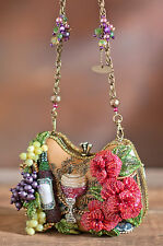 Mary Frances Perfect Pairing Beaded 3D Wine Bottle Goblet Grapes Flowers Handbag