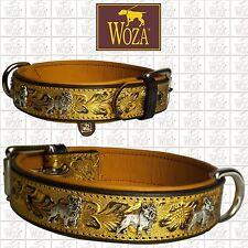 WOZA Premium French Bulldog Collar Full Leather Padded Soft Genuine Cow Napa 795