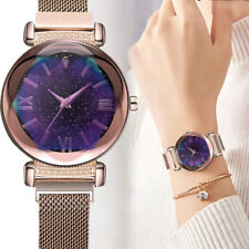 UK Women Stainless Steel Mesh Belt Watches Ladies Simple Starry Dial Dress Watch