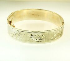 "Sterling Silver 6.75"" Solid Patterned Hinge Bangle (14mm Wide)"