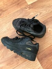 Kids Nike Air Max 90 Black Trainers Size Uk 10