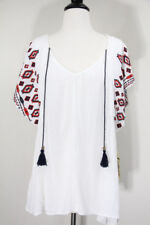 One World Boho Peasant Top Womens Medium Shirt Gauze Embroidered White NEW