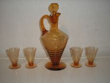 Cambridge Glass Elegant Imperial Hunt Etch Liquor Decanter & Cordials Amber