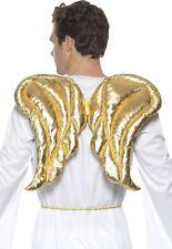 MUJER HOMBRE Niñas Dorado Navidad Lujo Alas de ángel Disfraz