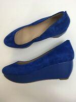 WOMENS CLARKS ROYAL BLUE SOFT SUEDE SLIP ON WEDGE HEEL PLATFORM SHOES UK 8 D