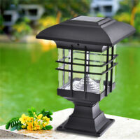 Solar Powered LED Garden Yard Outdoor Bollard Pillar Light Post Lamp Waterproof