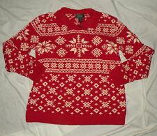 Ralph Lauren Women's Snowflake Red Ski Lodge Sweater Cotton Hand Knit Sz L