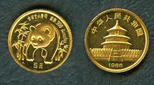 China 1986 1/20 oz PANDA 5 Yuan Original Mint GOLD Coin Early Year UNC