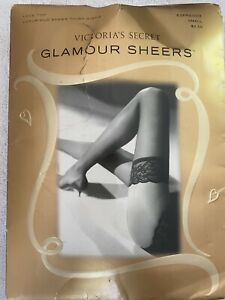 Victoria's Secret Glamour Sheer Thigh High Expresso Small Made in USA