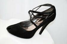 Nine West Black Suede Peep Toe Stiletto Strappy Shoes Size 5