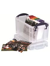 Really Useful 2.1L Box Photo Stationery Storage Clear Smoke Blue Pink Purple