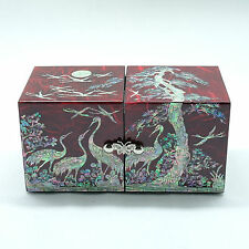 Red glossy Jewelry box Mother of pearl inlay on mulberry paper 4 drawers