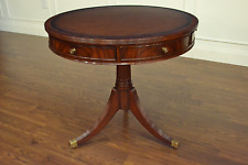 Leighton Hall Mahogany Traditional Occasional Leather Top Drum Table