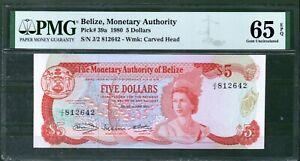 Belize P 39 1980 5 Dollars PMG 65 UNC Rare