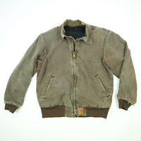 Carhartt Nicely Faded Distressed Canvas Chore Work Jacket Mens XL Broken-In Brwn