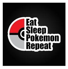 EAT SLEEP POKEMON REPEAT - funny pokemon go pokeball nintendo prank sticker ash