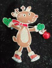 Dangling Legs Red Nose Glitter Costume Enamel Rudolph Reindeer Christmas Pin