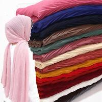 Women Ladies Pleated Wrinkle Chiffon Hijab Scarf Shawl Muslim Turban Head Wraps