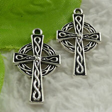 Free Ship 148 pieces tibet silver cross charms 29x17mm #4532