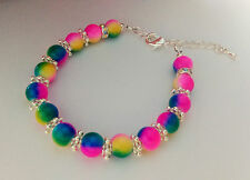Rainbow  Glass Beaded Handmade Bracelet +Gift Bag  Silver Plated Findings