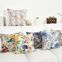 """18"""" Pastoral Plants Cotton Linen Pillow Case Home Decor Waist Sofa Cushion Cover"""