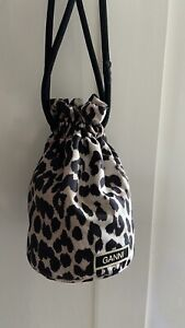Ganni Leopard Print Mini Drawstring Bag