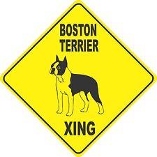 "13"" x 13"" plastic funny Boston Terrier sign xing Crossings animal cat"