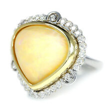 Australian Opal Heart Ring with Diamonds 14K Two Tone Gold 14.41ctw