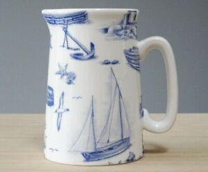 Bone China Half Pint Jug Blue Sailing Boat Pattern Hand Decorated Wales Gift