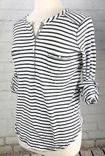 Lucky Brand Henley Top Boho Peasant Knit T-Shirt Women's M Cotton Striped