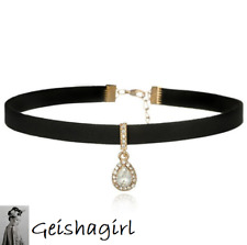 Gold Bohemian CZ Crystal Gem Teardrop Pendant Black Choker Collar Necklace UK