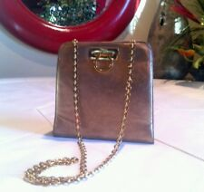 FERRAGAMO VINTAGE GOLD LEATHER PURSE BAG P21 5241 AUTHENTIC