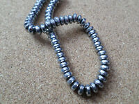 50 x Electroplated Hematite Beads - Rondelle - 6mm - Silver Plated