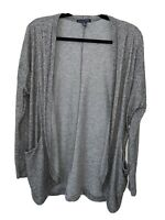 American Eagle Cardigan Open Front Sweater Oversized Gray Top Women's Size Small