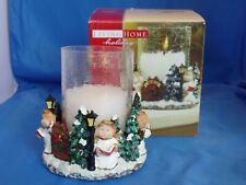 Living Home Holiday Decorative Hurricane Lamp Christmas Angels Crackle Glass Euc