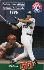 1996 MONTREAL EXPOS BASEBALL POCKET SCHEDULE - FRENCH AND ENGLISH