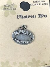Jewelry Making Me Charm MERRY CHRISTMAS Sterling Silver Plated Also Scrapbooking