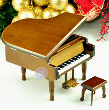 "Play ""Moon River"" Wooden Piano Wind up Music Box With Sankyo Musical Movement"