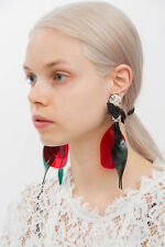 MARNI x H&M Black Bow Red Plexi Lucite Rhinestone Clip On Chanderlier Earrings