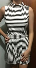 DOTTI BLACK & WHITE STRIPED JUMPSUIT SZ 10 FREE POST (E91)