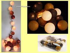 LED LICHTERKETTE COTTON BALLS 20er Stoffbälle BRAUN-weiß 3,5 m 2 Watt - NEU