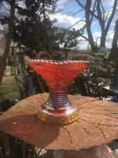Vintage Indiana Heirloom Sunset Patter Yellow Red Carnival Glass Base Vase