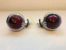 2 Chrome Bullet Egg Red Lens Single Filament Turnsignal Lights For Harley Bobber