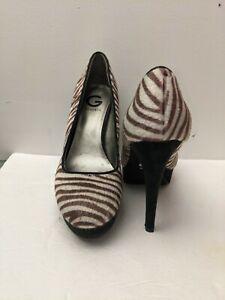 BY GUESS Calf Hair Zebra Print 5.5 inch High Heels  PUMPS Women's Size 10M