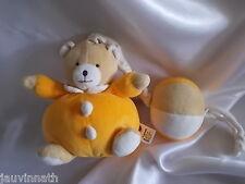 Doudou ours musical, orange, ballon, Babysun