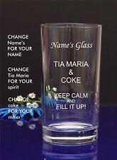 Personalised Engraved Hi ball Tumbler mixer spirit TIA MARIA AND COKE glass28