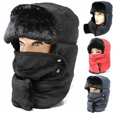 d8865735f22 Men Woman Winter Trapper Aviator Trooper Hat Neck Warm Face Mask Fully Fur  Lined