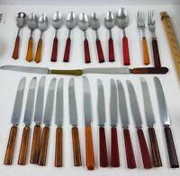 Mixed Lot of 26 Catalin / Bakelite Handled Flatware & Utensils Various Colors